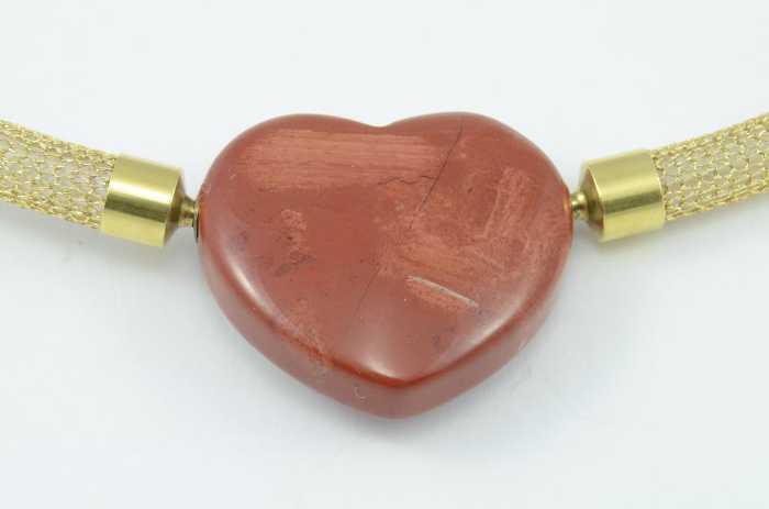Wechselschließencollier 'Jaspis marmoriert mit Jaspis Herz - Set'