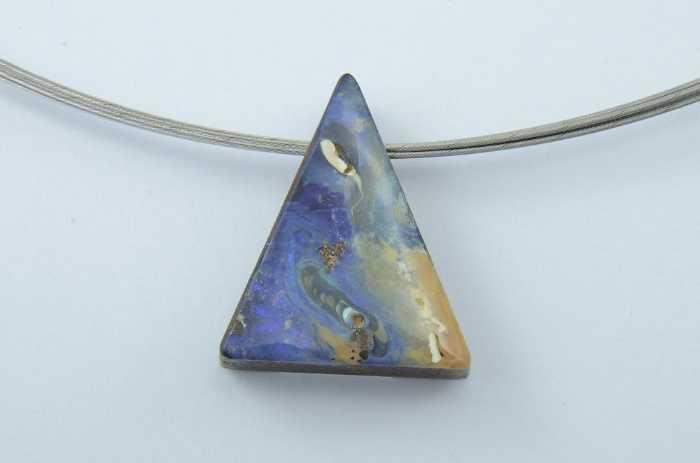 Edelstahlseilcollier mit Opal