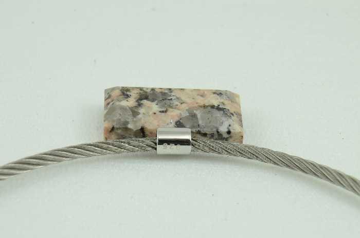 Zschorlauer Granit Rechteck, Edelstahlseil gedreht, Montanregion Erzgebirge