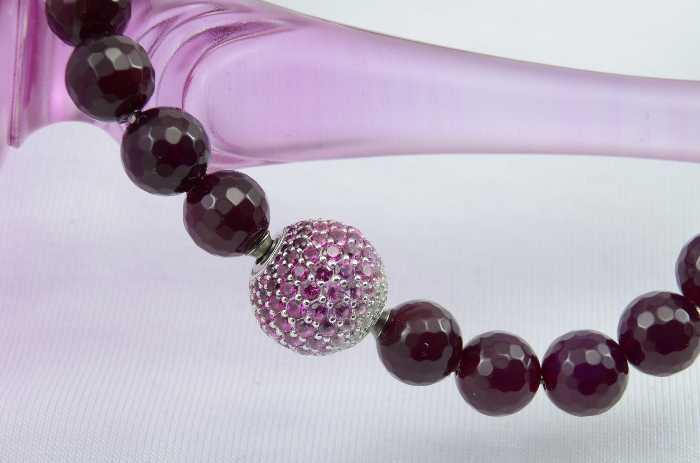 Wechselschließe ´Kugel mit Farbverlauf pink, Silber, Zirkonia´