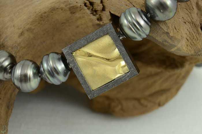 Wechselschließe 'Quadrat innen vergoldet'